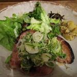 燕食堂 - 豚肩ロース西京焼き九条ネギマリネのせ