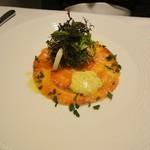 49618014 - スモークサーモンのサラダ仕立て卵ソース