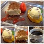 リストランテファンタジスタ - ◆デザートは「ラムレーズンアイス」と「ティラミス」       珈琲も軽めでデザートを頂くには丁度いいお味。