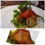 リストランテファンタジスタ - ◆私は「玄界灘産 鮮魚のポアレ」を。       この日は「金目鯛」、高級魚ですね。北海道産の「帆立」半身が添えられています。