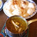 印度料理シタール - パラク・パニール+ハーフナン ¥1,382+¥248