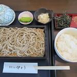 手打そば 伊とう - もり(600円)+山わさびご飯(250円)