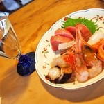 鮨銀 - お造り盛り合わせ & 緑川 純米