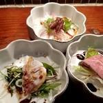 チャイナひめは菜 - 螢烏賊、真鯛、ローストピーフの前菜