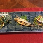 古都蕗 - 前菜:白和え・キビナゴの三杯酢・ハンダマ(長命草)の胡麻和え