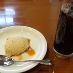 49699245 - ◆ドリンクは選べますのでアイスコーヒーを・                       ◆デザートは「きな粉ムース」でした。