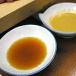 汐湯 凪の音 - しゃぶしゃぶは胡麻とポン酢の2種のタレで頂きます。