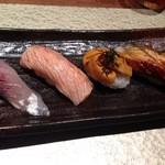 寿司ひでぞう - 鯵・炙りサーモン・ウニ・鰻
