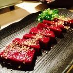 Fukushigehorumon - 炙りレバー♪良い感じの色艶でしょ♡