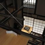 萬御菓子誂處 樫舎 - 2Fから階下を見て