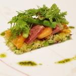ラルテ沢藤 - 桜鱒、鴨の胸肉ロースト、クスクス