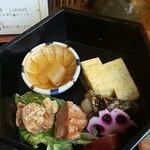 びんび - 前菜→数の子と唐揚げとサワラの西京漬けとだし巻き