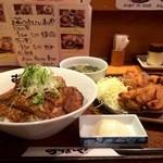 おぼや - おぼ丼(神戸牛カルビ)と、唐揚げ、スープのセット