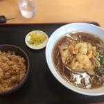 めん処 村上家 - 鶏ご飯かき揚げ天ぷらセット そば 750円