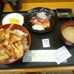 おたる佐藤食堂 - 特製天丼と刺身セット 2016.4月