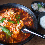 辛麺屋 桝元 - 料理写真:「元祖 辛麺(5辛)」(700円)+セットメニューの「なんこつ」「ごはん(小)」(100円)。