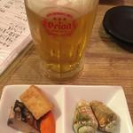 沖縄健康長寿料理 海人(うみんちゅ)成増店 - オリオンビールの生とお通し