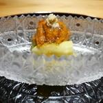 豪龍久保 - 久世茄子、ホワイトアスパラ、バフンウニとすっぽんのジュレ