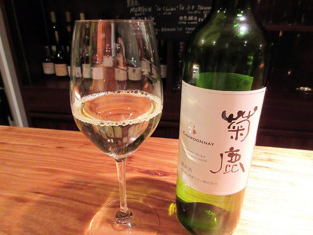 ワインバー マルコ - 菊鹿シャルドネ'13+'14(グラス1000円) 熊本のワイン。グラスは日替わり