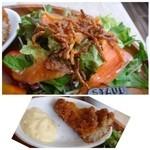 64 Bistro - サラダは盛り沢山。◆かすごのフライ・・衣が硬いかも。