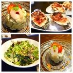 49806850 - 海老とアボカドのタルタル・シーザースサラダ・牡蠣のゴルゴンゾーラクリーム焼き