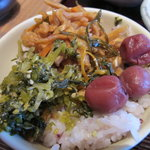 キャトルセゾン旬 - 青玄米 3色漬物丼