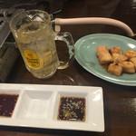 スタミナホルモン食堂 食樂 - 2016年4月。ハイボール388円とマルチョウ637円。
