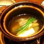 寿司 はせ川 - 吸物 丸土瓶蒸し 焼葱芽葱