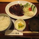 豚捨 - ひとくちステーキ定食 1730円 (2016.4)