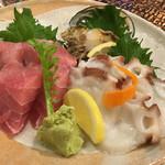 魚○ - 刺身(まぐろ、あわび、たこ)