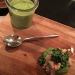 49837482 - 前菜1:ブロッコリーのポタージュ コンソメジュレ・ブロッコリーと蟹のサラダ