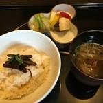49841731 - 筍の炊き込み御飯<1杯目>,味噌汁,漬物6種