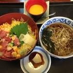 割烹吉良 - 《ミニバラちらし丼・そば》1,100円       2016/4/15