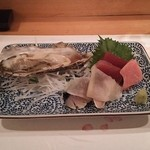 先斗 浅草 - お造り(牡蠣、しめ鯖、まぐろ赤身&とろ)