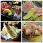 49845173 - 左上から時計回りに(鰹たたき、刺身・金目鯛刺身・金目鯛煮付け・鯵の天ぷら)