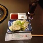 49851676 - H.28.4.14.昼 おとおし(?)の塩キャベツ・タレ・塩・お茶