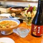 だるま寿し - 鯵の胡麻和え & 冷酒(美和桜 純米吟醸)
