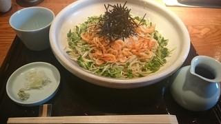蕎・馳走 岩舟 - 桜えびと辛子大根のぶっかけ1300円