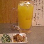 昭和のがんちゃん - オレンジジュース、ジョッキです(笑