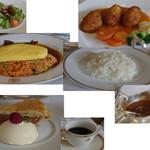 49891687 - サラダ,ビーフカレー,オムレツビーフシチューカニクリームコロッケ,アップルパイ・ア・ラ・モード