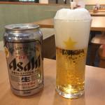 関緑ヶ丘食堂 - 缶ビール(注ぎ方メチャ下手)(>_<)
