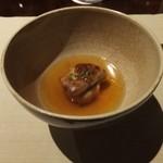 49899584 - フォアグラのポワレと田芋のクロケット、                         ごぼうの香るコンソメスープに浮かべて