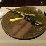 49899596 - マコモのロースト タンカンのサバイヨンソース、                       高瀬貝とトコブシの命草ブルギニオンを添えて