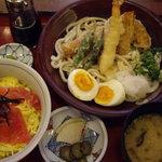 神戸百番 - 海老天ぶっかけうどん+鉄火丼セット