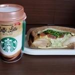 スターバックスコーヒー - バジルチキンサンドイッチ&カフェラテ