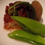 鮨菜旬炉料理 笑和 - 蛸の柔らか煮と野菜の炊合わせ