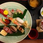 49920471 - むさし・寿司定食                       寿司12貫とあさりのみそ汁、茶碗蒸し、デザート
