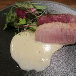 モンプチコションローズ - 28年4月 千葉県産いも豚と茨城県産牛ヒレ肉ロースト シェアー ゴルゴンゾーラソース