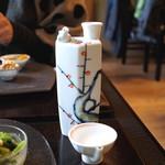 そば茶寮 澤正 - 蒼空 純米 (ウグイス徳利と盃で)