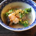 そば茶寮 澤正 - 温鉢 (薩摩芋餅の菜の花蒸し 蕎麦餡仕立て)